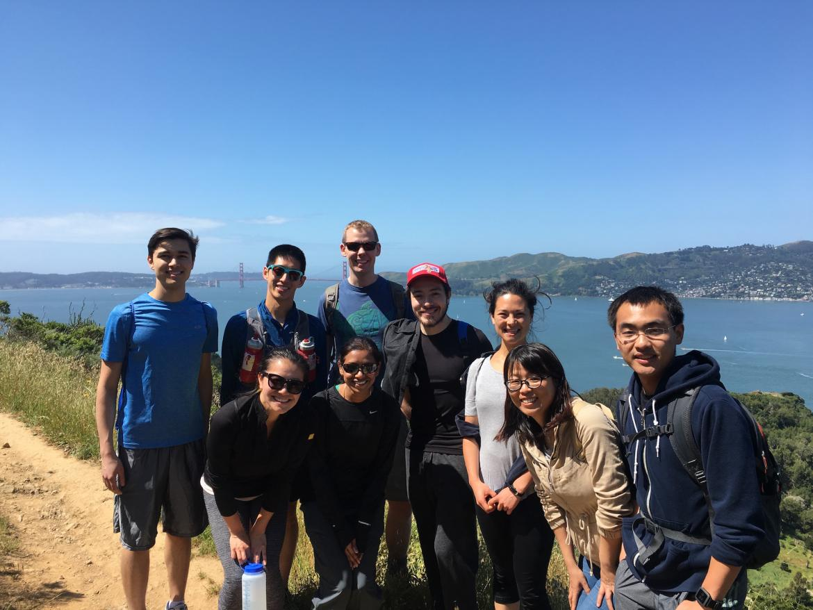 Kampmann lab hike Angel Island